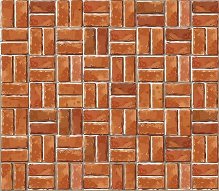 Red brick wall seamless Vector illustration background - texture pattern for continuous replicate. Vector