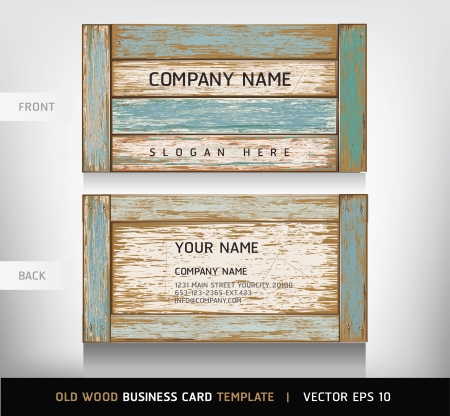 blank business card: Old Wooden Texture Business Card Background. vector illustration.