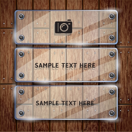 Wooden texture background and glass frame  Stock Vector - 15627693