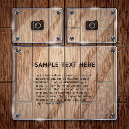 Wooden texture background and glass frame  Stock Vector - 15627697