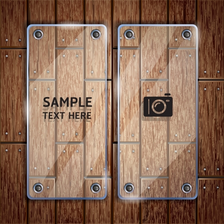 Wooden texture background and glass frame  Stock Vector - 15627702
