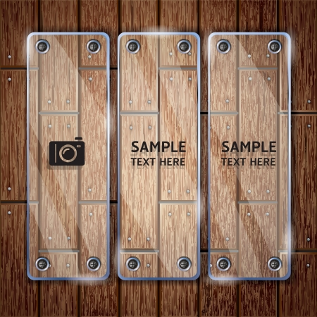 Wooden texture background and glass frame   Stock Vector - 15627691