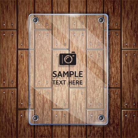 tornillos: Textura de fondo de madera y vidrio marco vector ilustrador