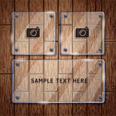 chene bois: Texture de fond en bois et cadre en verre Illustration