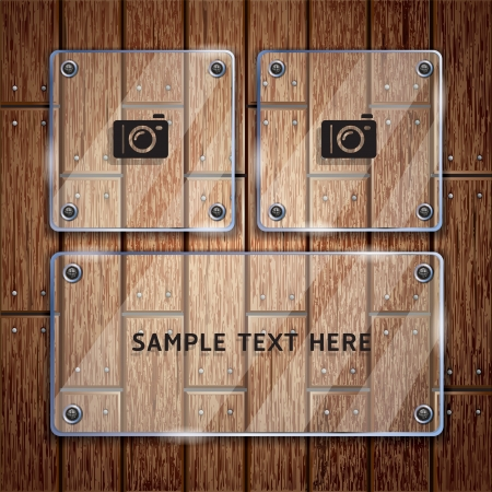 Wooden texture background and glass frame  Vector