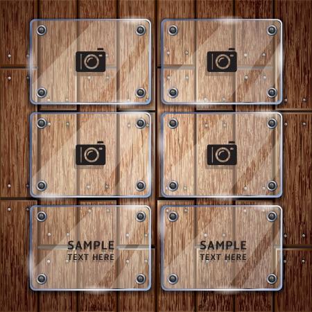 pannello legno: Texture di fondo in legno e cornice in vetro Vettoriali
