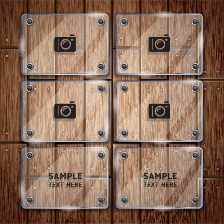 plywood: Wooden texture background and glass frame