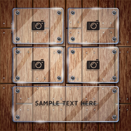 Wooden texture background and glass frame  Stock Vector - 15627700