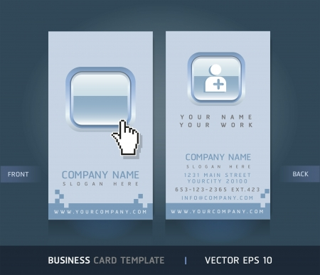 Business Card with Blue buttons. Vector illustration. Stock Vector - 15725003