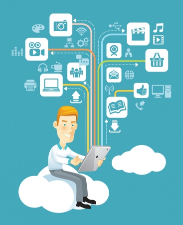Business man using a tablet sitting on a cloud with social media, communication icons