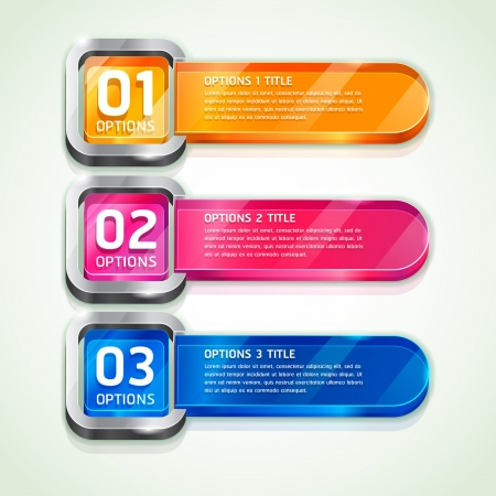 3d button: Colorful Buttons Website Style Number Options Banner & Card Background. Vector illustration