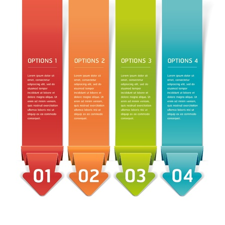 infocharts: Colorful Origami Style Number Options Banner & Card. Vector illustration
