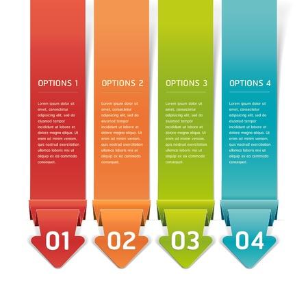 pesta�as: Estilo colorido de Origami Opciones N�mero Banner & Card. Ilustraci�n vectorial Vectores