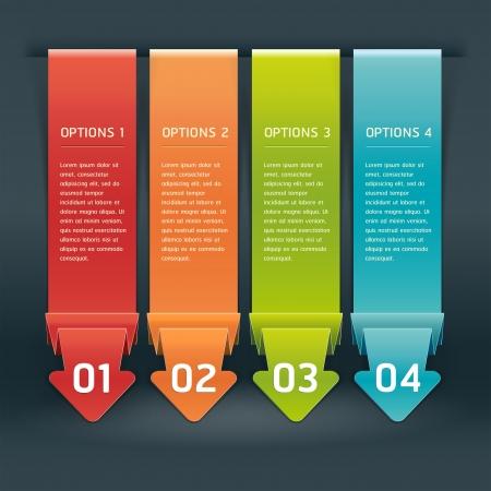 bijsluiter: Kleurrijke Origami Stijlnummer Opties Banner & Card. Vector illustratie