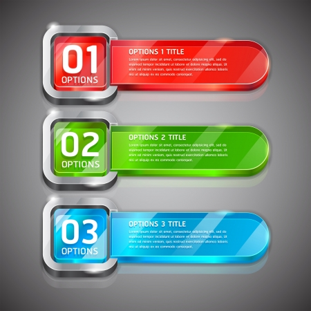 Colorful Buttons Website Style Number Options Banner & Card Background. Vector illustration Vector