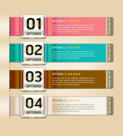 histogram: Retro Color Medals with Ribbon Style Number Options Banner & Card. Vector illustration