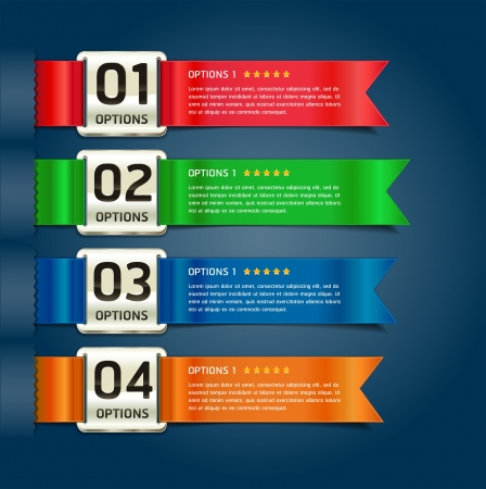 infocharts: Colorful Medals with Ribbon Style Number Options Banner & Card. Vector illustration