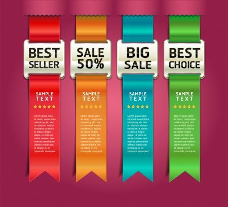 gabarit: M�dailles de couleur r�tro avec du ruban banni�re Nombre d'options Style & Card. Vector illustration Illustration
