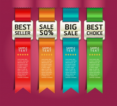 bijsluiter: Retro Kleur Medailles met lint Stijlnummer Opties Banner & Card. Vector illustratie