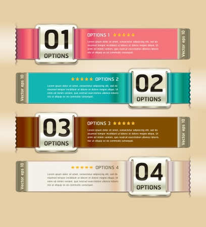 infocharts: Retro Color Medals with Ribbon Style Number Options Banner & Card. Vector illustration