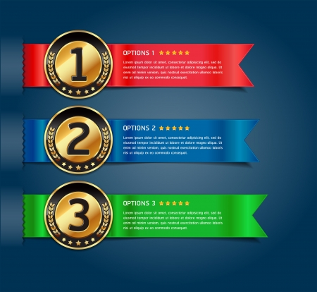 option: Colorful Medals with Ribbon Style Number Options Banner & Card. Vector illustration
