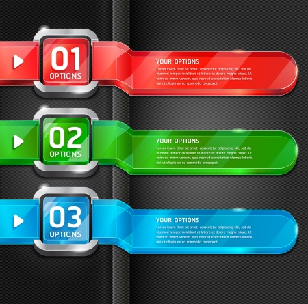 banner: Colorful Buttons Website Style Number Options Banner & Card Background. Vector illustration