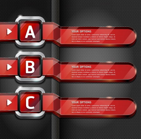 metallic banners: Red Buttons Website Style Number Options Banner & Card Background. Vector illustration