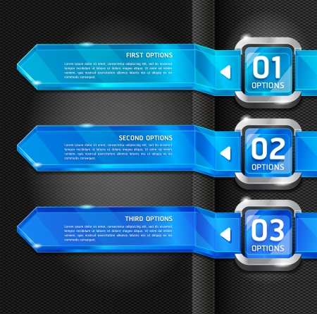 option: Blue Buttons Website Style Number Options Banner & Card Background. Vector illustration
