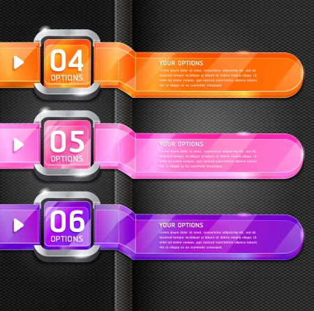 Colorful Buttons Website Style Number Options Banner & Card Background. Vector illustration Stock Vector - 15843402