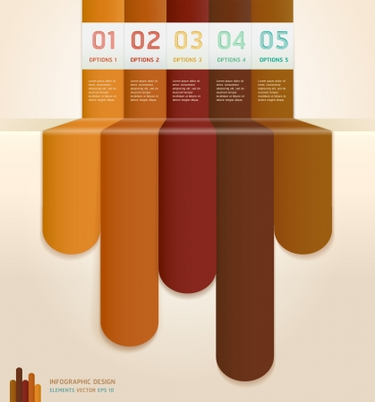 Retro Color Infographics Number Options Banner Card  Vector
