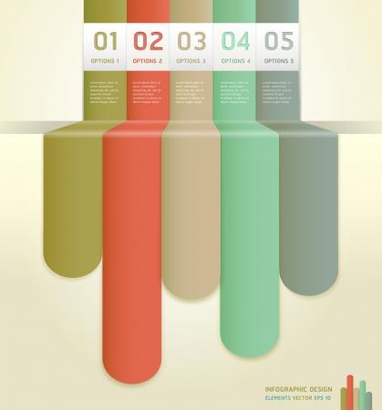 bijsluiter: Retro Kleur Infographics Aantal Opties Banner Card Stock Illustratie