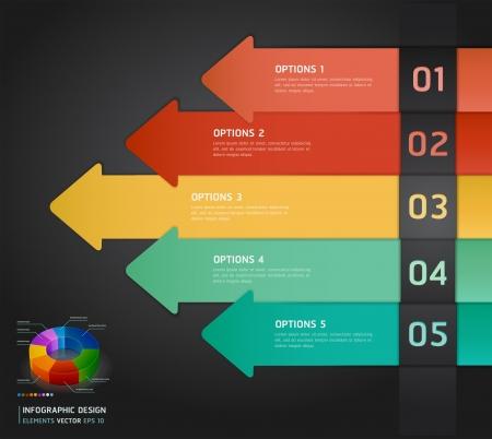 tarjeta de presentacion: Infograf�a n�mero colorido opciones de banners tarjeta Ilustraci�n vectorial