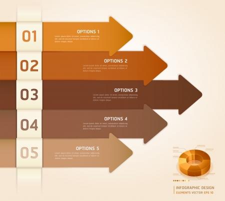 pesta�as: Colores Retro Infograf�a N�mero opciones de banners tarjeta Ilustraci�n vectorial