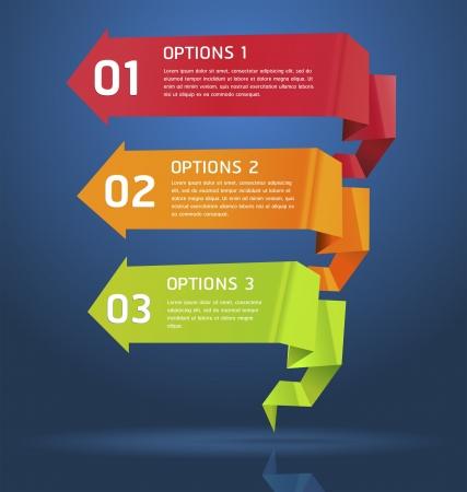 Colorful Origami Numero stile Opzioni Banner illustrazione scheda