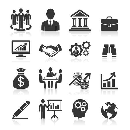 round icons: Business icons, management and human resources set1
