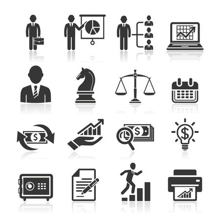 dirección empresarial: Iconos de negocios, gestión y recursos humanos set2