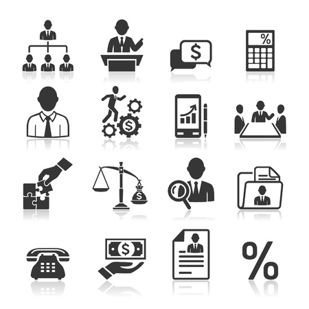 technology deal: Business icons, management and human resources set3