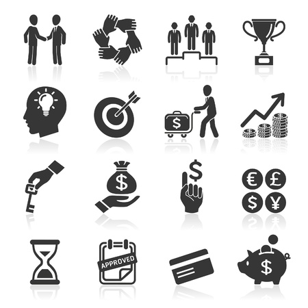 round icons: Business icons, management and human resources set6
