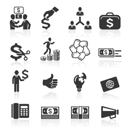 Business icons, management and human resources set7   Vector