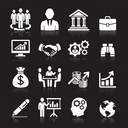 Business icons, management and human resources set1   Vector