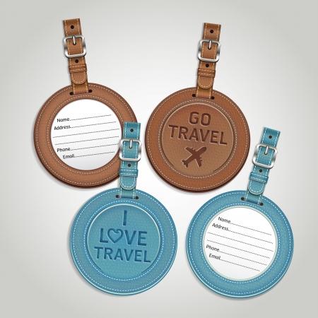 viaje de negocios: Etiquetas de equipaje de cuero etiquetas ilustraci�n Vectores