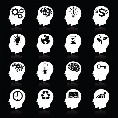 denkender mensch: Denken Heads Icons
