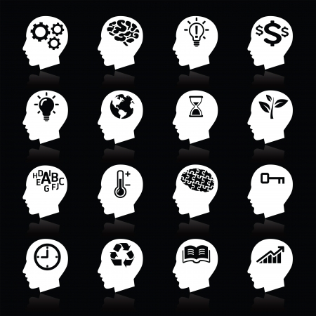 brain and thinking: Thinking Heads Icons   Illustration