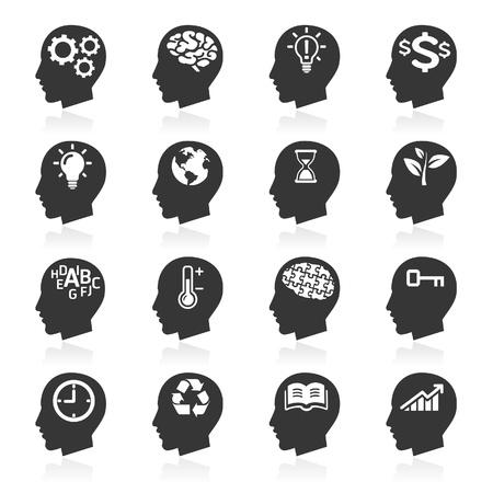 vzdělávací: Myšlení Heads ikony Ilustrace