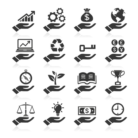 light bulb idea: Hand concept icons
