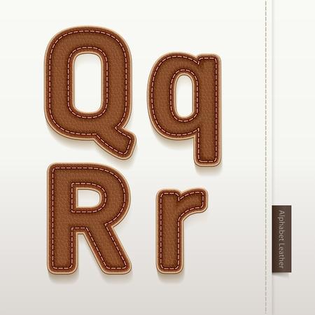 peau cuir: Cuir de peau de texture illustration vectorielle alphabet Plus de style en cuir caract�res dans mon portefeuille