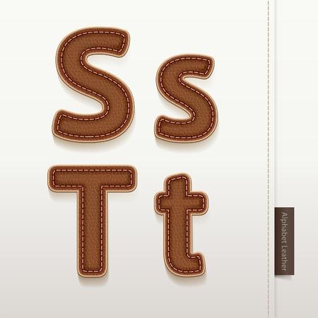 texture cuir marron: Alphabet cuir texture de peau illustration Plus de style en cuir caract�res dans mon portefeuille Illustration