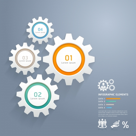 gear cog: Color Gears Infographics Number Options Banner   Card  Vector illustration