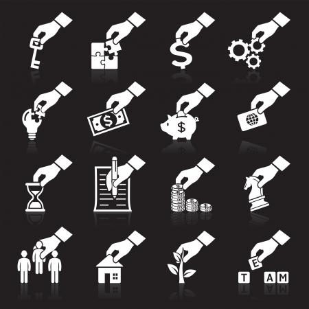 mano con dinero: Concepto de mano iconos m�s iconos en mi cartera