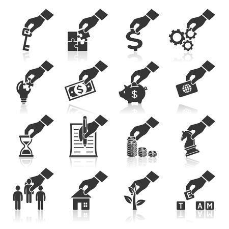hand business card: Concetto mano icone pi� icone nel mio portafoglio